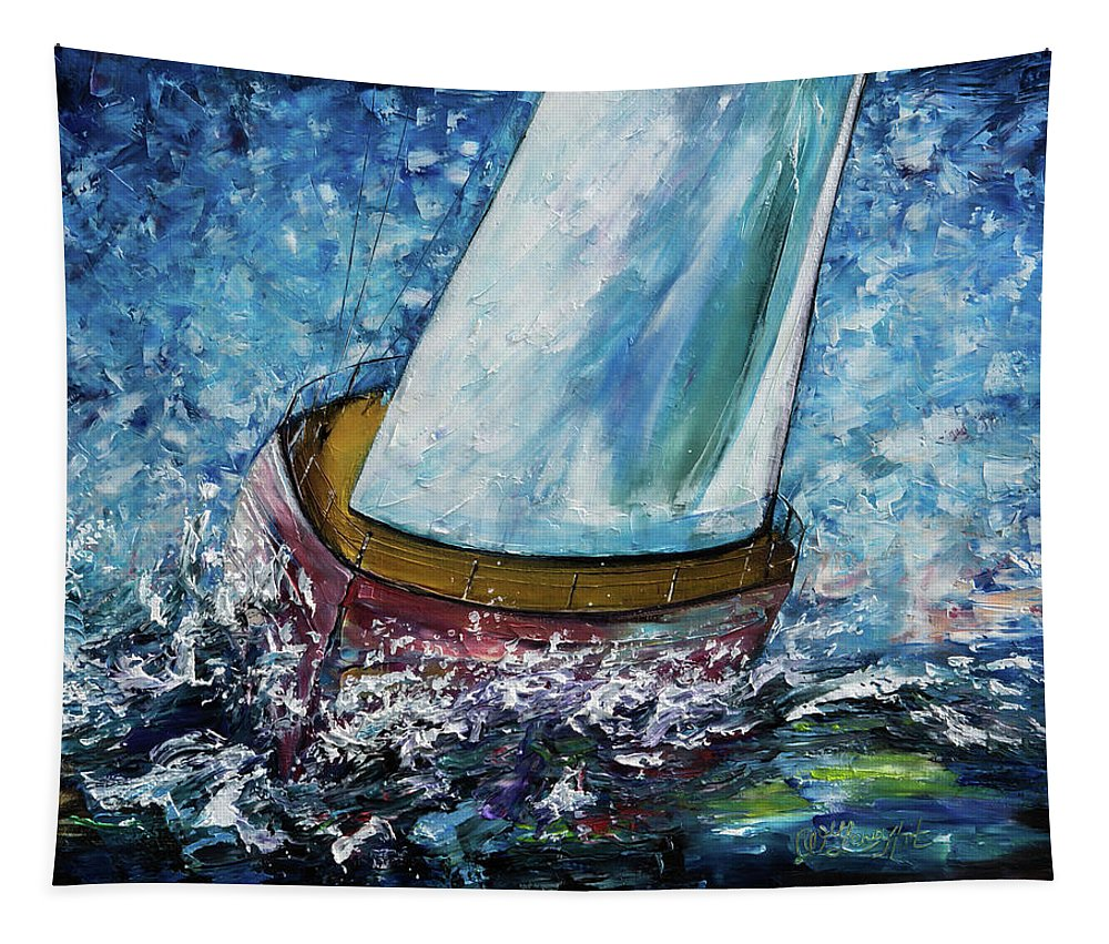 Breeze On Sails - 2 Tapestry featuring the painting Breeze On Sails -2 by OLena Art Brand