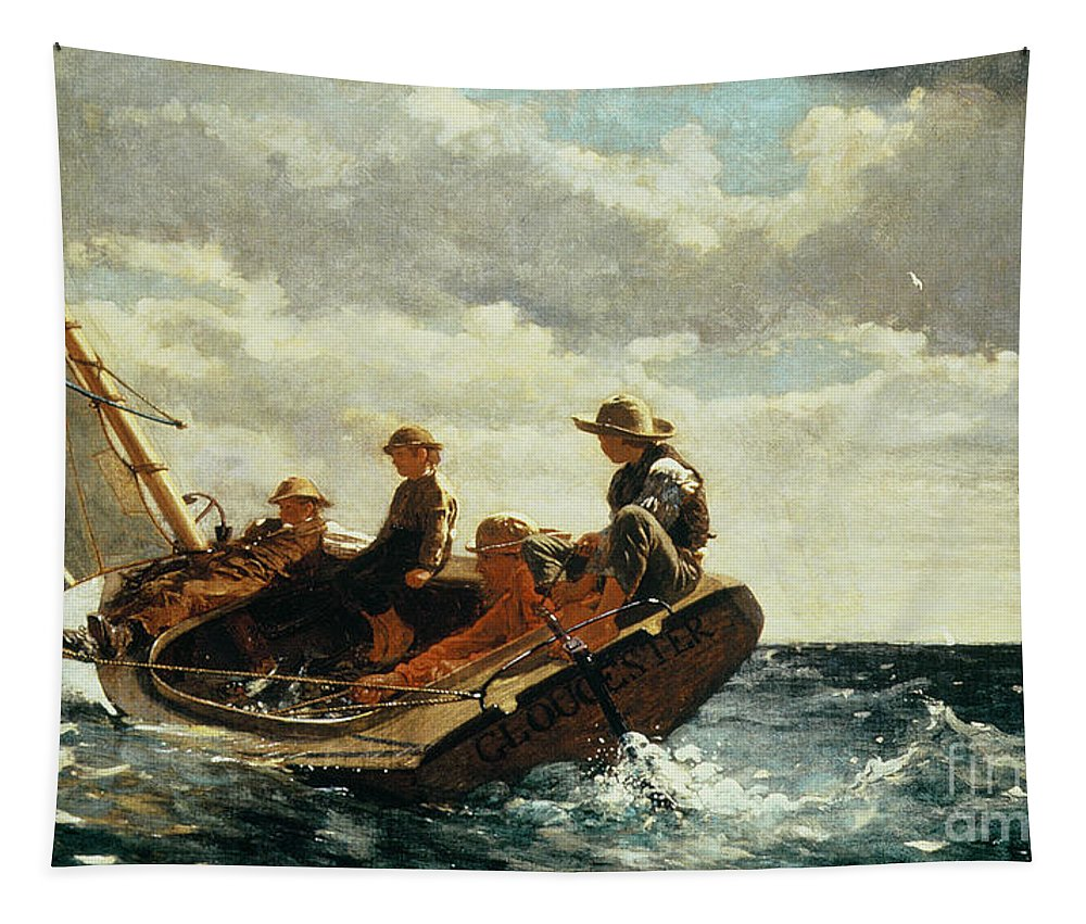 Breezing Up (a Fair Wind) 1873-76 (oil On Canvas) By Winslow Homer (1836-1910)boat Tapestry featuring the painting Breezing Up by Winslow Homer