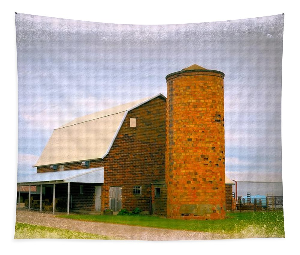 Barn Tapestry featuring the photograph Brick Barn And Silo by Bonfire Photography