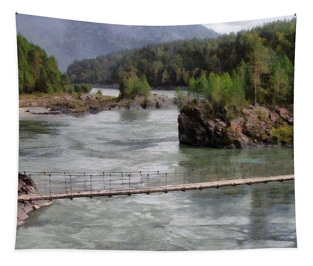 Bridge Tapestry featuring the photograph Bridge Across Mountain River by Sergey Lukashin