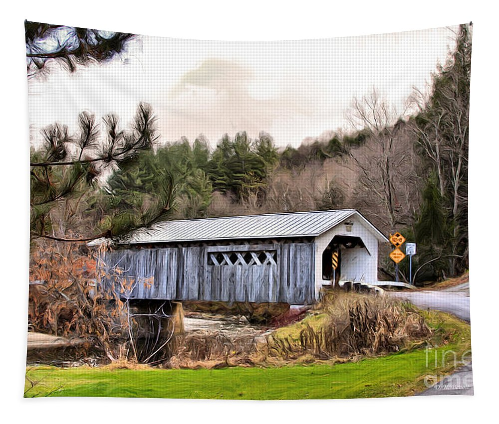 Covered Tapestry featuring the mixed media Bridge In Montgomery by Deborah Benoit
