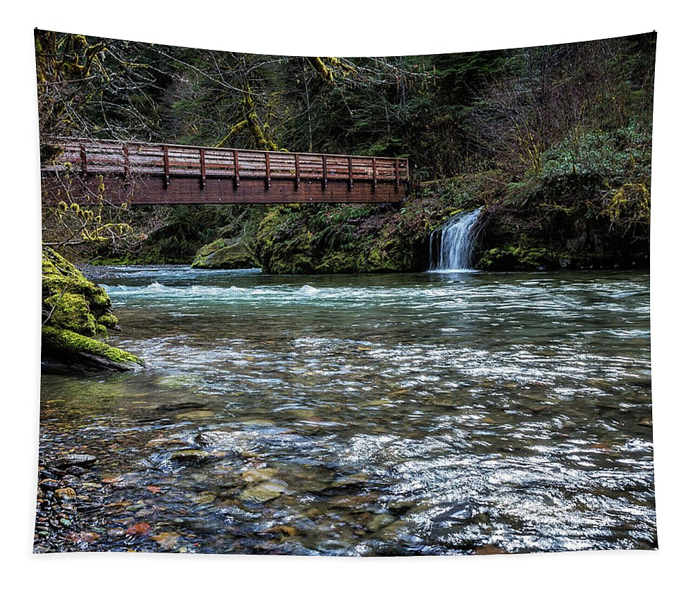 Hackleman Creek Tapestry featuring the photograph Bridge Over Hackleman Creek by Belinda Greb