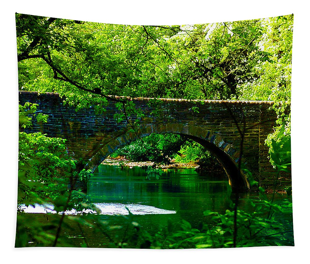 Philadelphia Tapestry featuring the photograph Bridge Over The Wissahickon by Bill Cannon