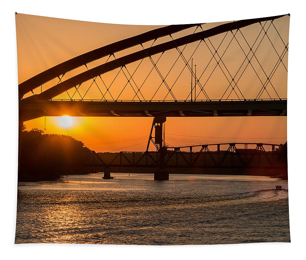 Bridge Tapestry featuring the photograph Bridge Sunrise And Boater by Patti Deters
