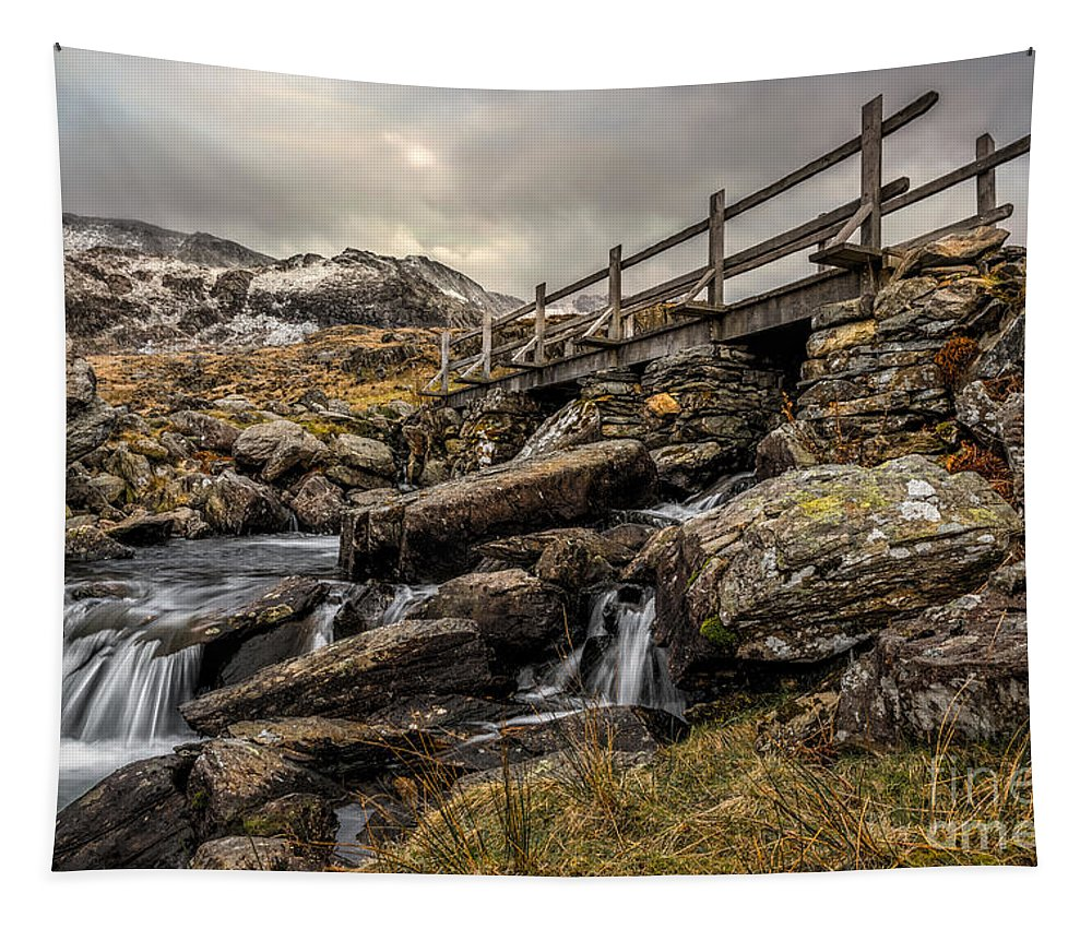 Waterfall Tapestry featuring the photograph Bridge To Moutains by Adrian Evans