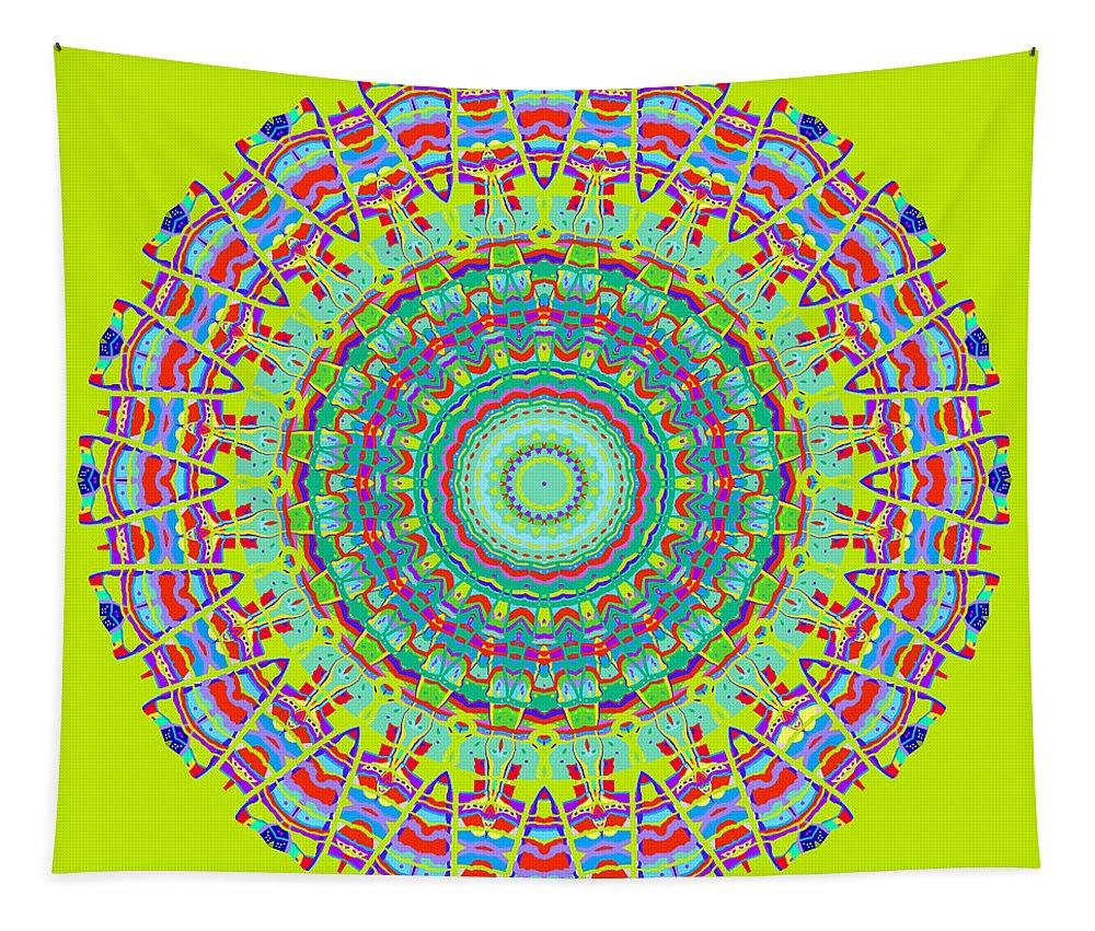 Digital Tapestry featuring the digital art Brigadoon No. 7 Mandala by Joy McKenzie