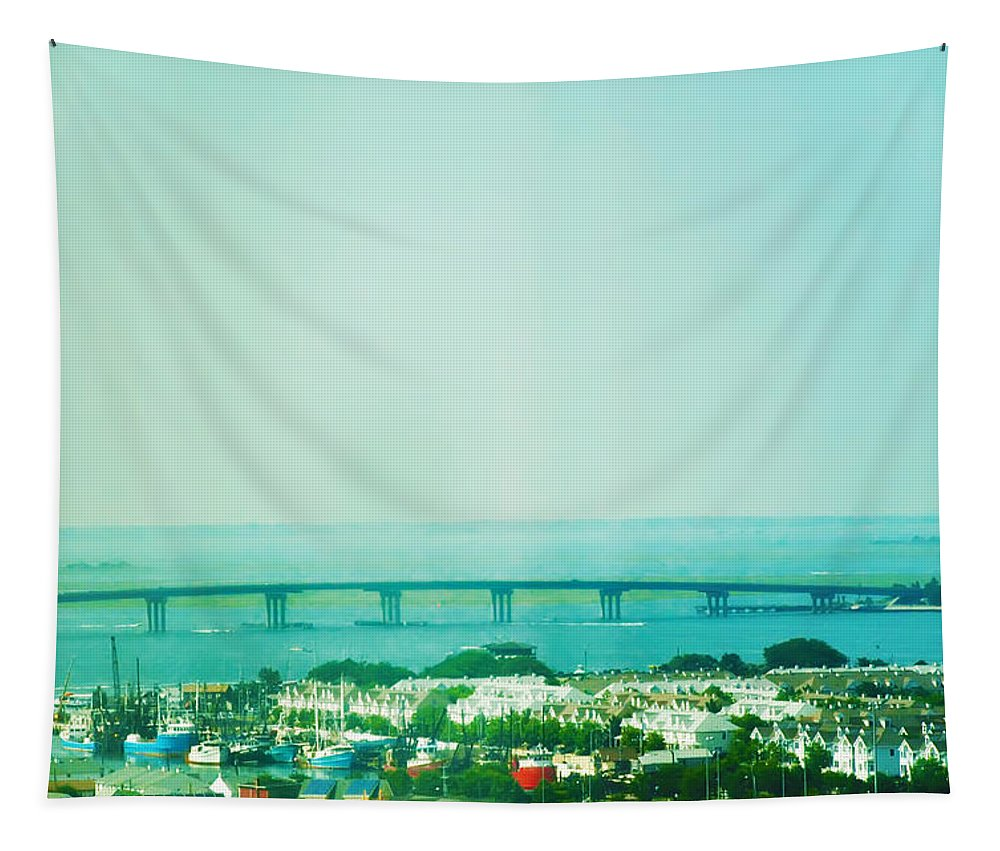 Brigantine Tapestry featuring the photograph Brigantine Bridge - New Jersey by Bill Cannon