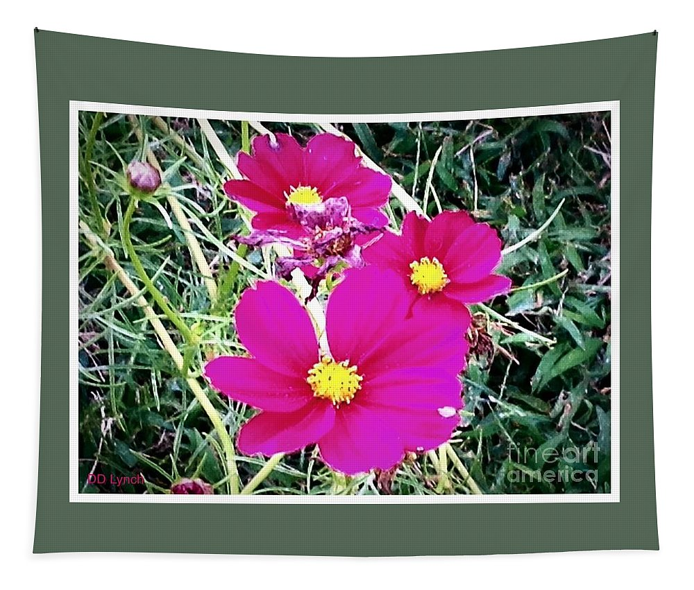 Flowers Tapestry featuring the digital art Bright Pink Flowers by Debra Lynch