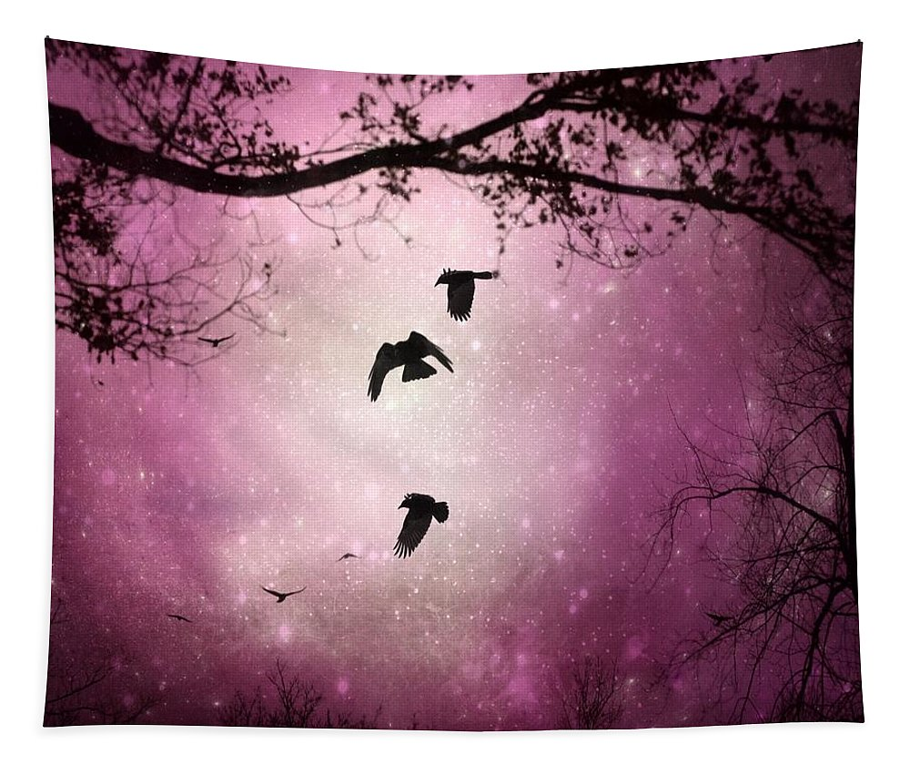 Pink Sky Tapestry featuring the digital art Brilliant Pink Surreal Sky by Gothicrow Images