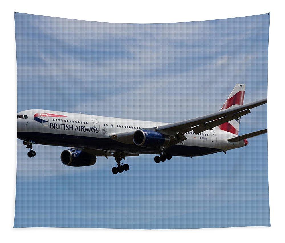 British Airways Tapestry featuring the photograph British Airways Boeing 767 by David Pyatt