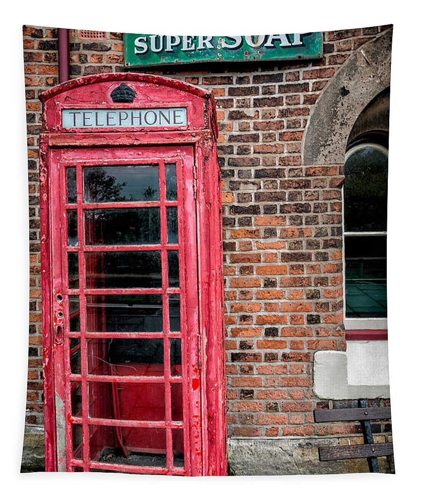 British Tapestry featuring the photograph British Phone Box by Adrian Evans