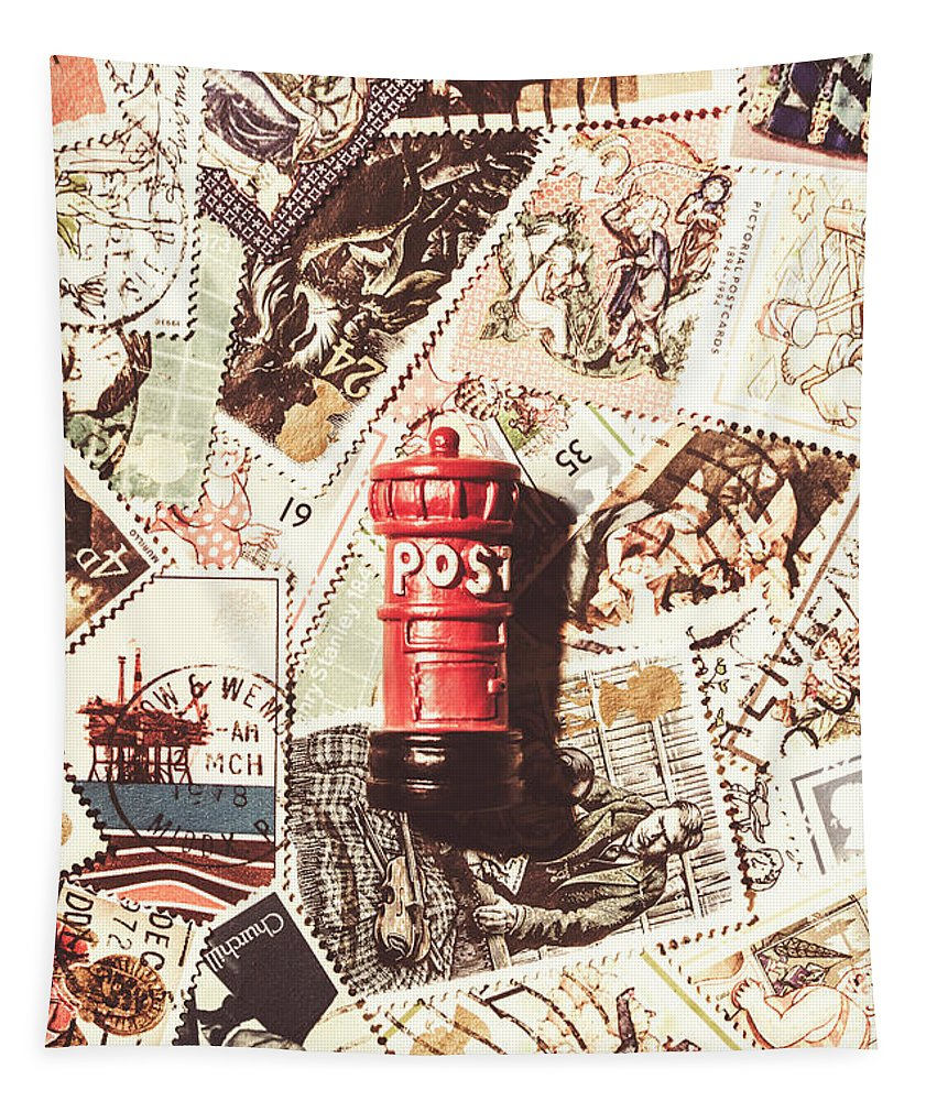 England Tapestry featuring the photograph British Post Box by Jorgo Photography - Wall Art Gallery