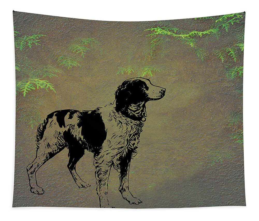 Brittany Spaniel Tapestry featuring the mixed media Brittany Spaniel by Movie Poster Prints