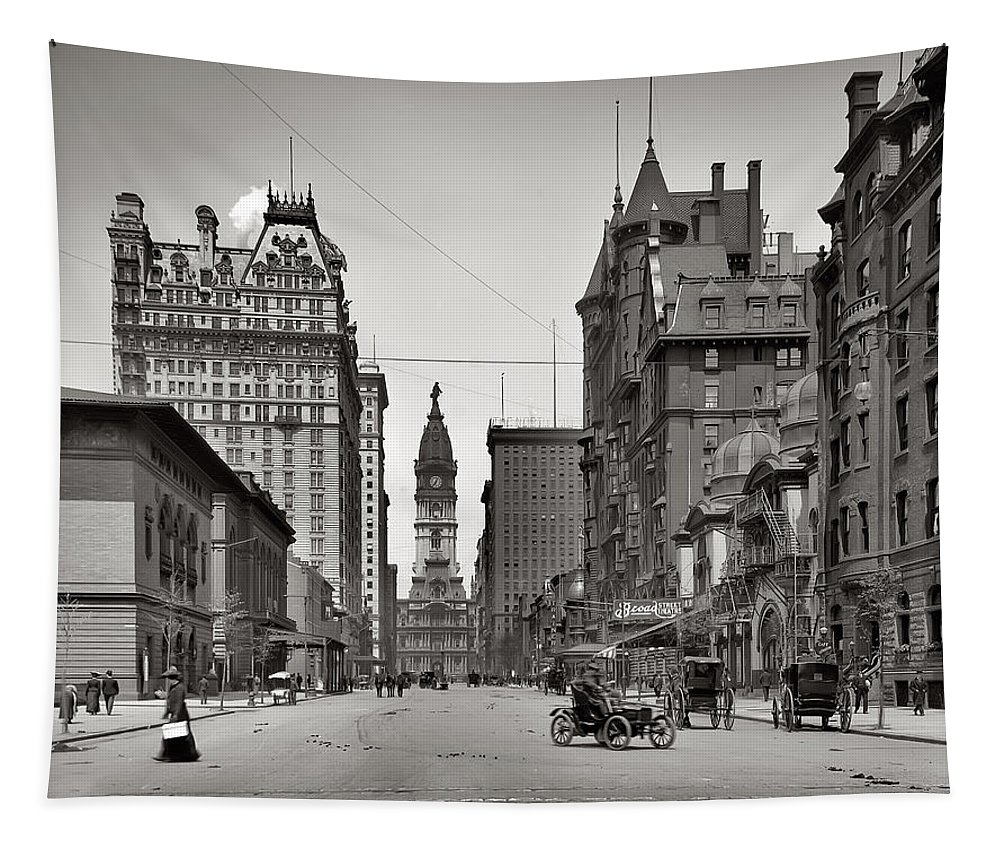 Broad Street Philadelphia 1905 Tapestry featuring the photograph Broad Street Philadelphia 1905 by Bill Cannon