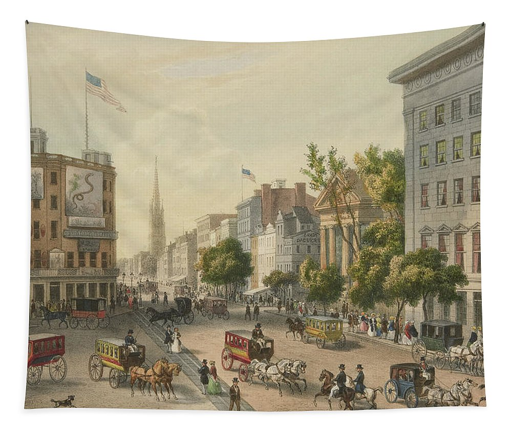New York Tapestry featuring the painting Broadway by Augustus Kollner