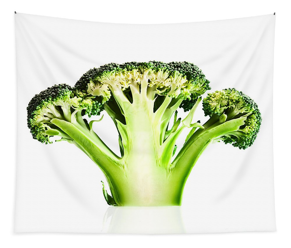 Broccoli Tapestry featuring the photograph Broccoli Cutaway On White by Johan Swanepoel