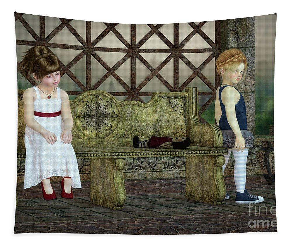3d Tapestry featuring the digital art Broken Friendship by Jutta Maria Pusl
