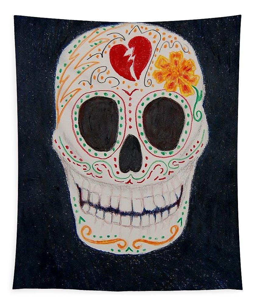 Marigold Tapestry featuring the mixed media Broken Heart by Charla Van Vlack