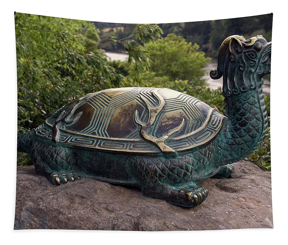 Bronze Turtle Dragon Sculpture Tapestry featuring the photograph Bronze Turtle Dragon Sculpture by Sally Weigand
