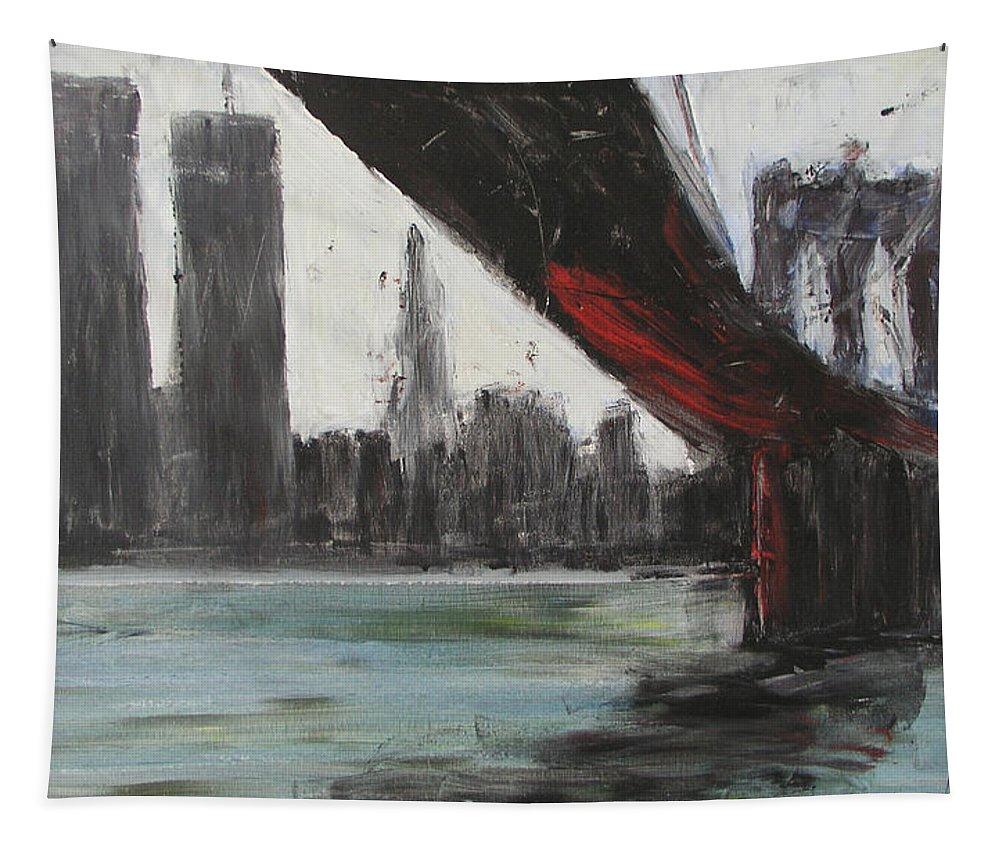Brooklyn Tapestry featuring the painting Brooklyn Bleeding by Gail Eisenfeld