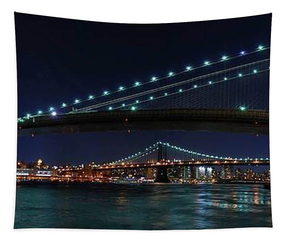 Brooklyn Bridge Tapestry featuring the photograph Brooklyn Bridge Full Moon by Movie Poster Prints