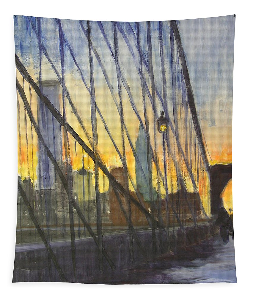 Brooklyn Tapestry featuring the painting Brooklyn Bridge Wires by Gail Eisenfeld