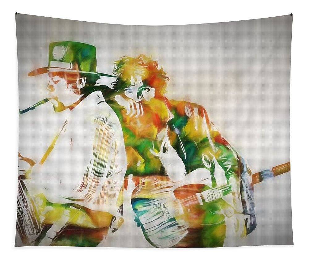 Bruce And The Big Man Tapestry featuring the painting Bruce And The Big Man by Dan Sproul