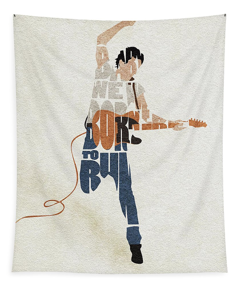 Bruce Springsteen Tapestry featuring the digital art Bruce Springsteen Typography Art by Inspirowl Design