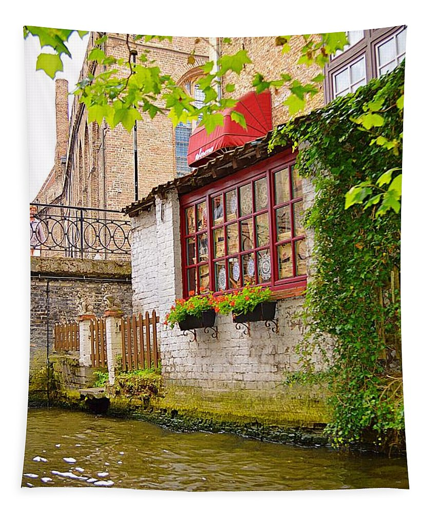 Bruge Tapestry featuring the photograph Bruge Canal by Linda Covino