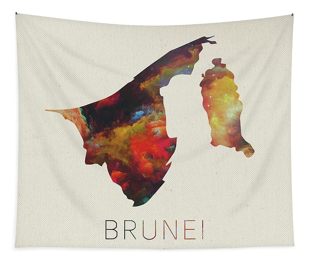 Brunei Tapestry featuring the mixed media Brunei Watercolor Map by Design Turnpike