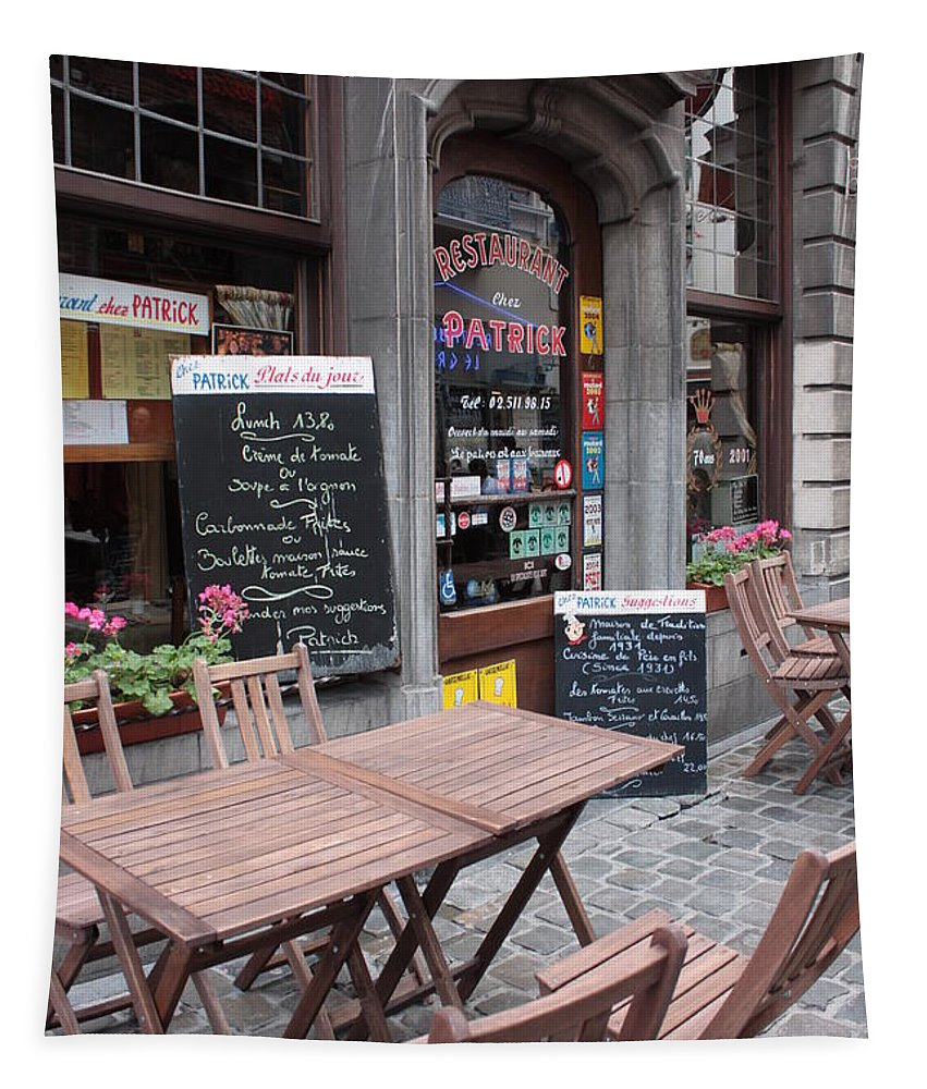 European Cafes Tapestry featuring the photograph Brussels - Restaurant Chez Patrick by Carol Groenen