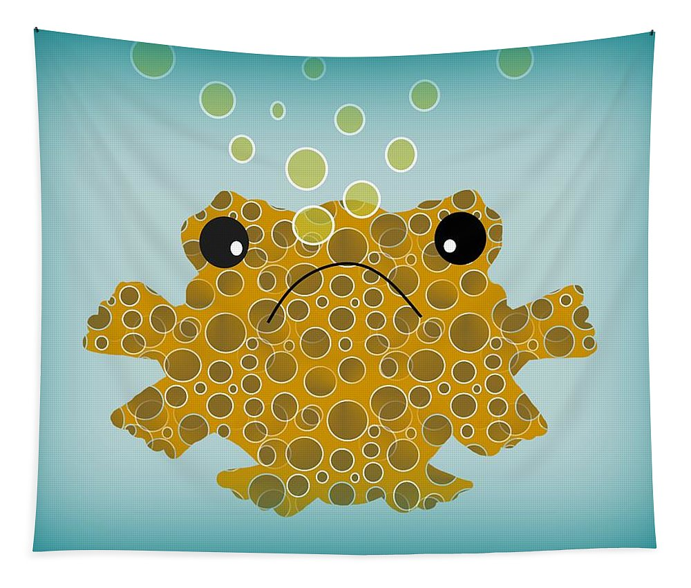 Bubbles The Fish Tapestry featuring the digital art Bubbles The Fish by Kathleen Sartoris