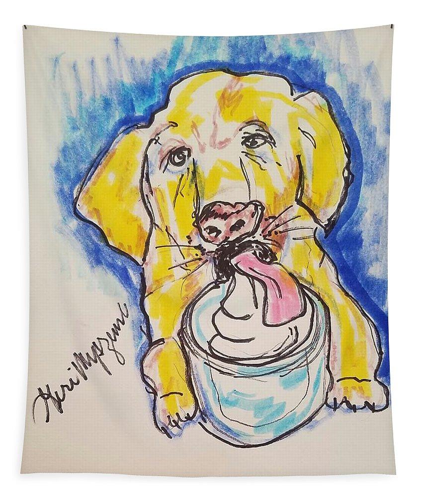 Buckett List Tapestry featuring the painting Buckett List For Dogs by Geraldine Myszenski