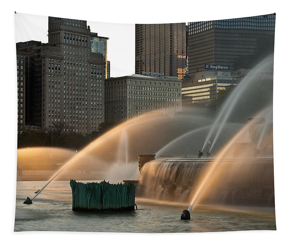 Chicago Tapestry featuring the photograph Buckingham Fountain Sidelight by Steve Gadomski