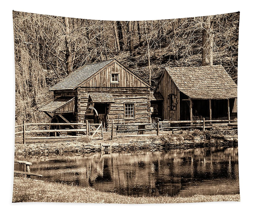 Bucks Tapestry featuring the photograph Bucks County - Cuttalossa Mill In Sepia by Bill Cannon