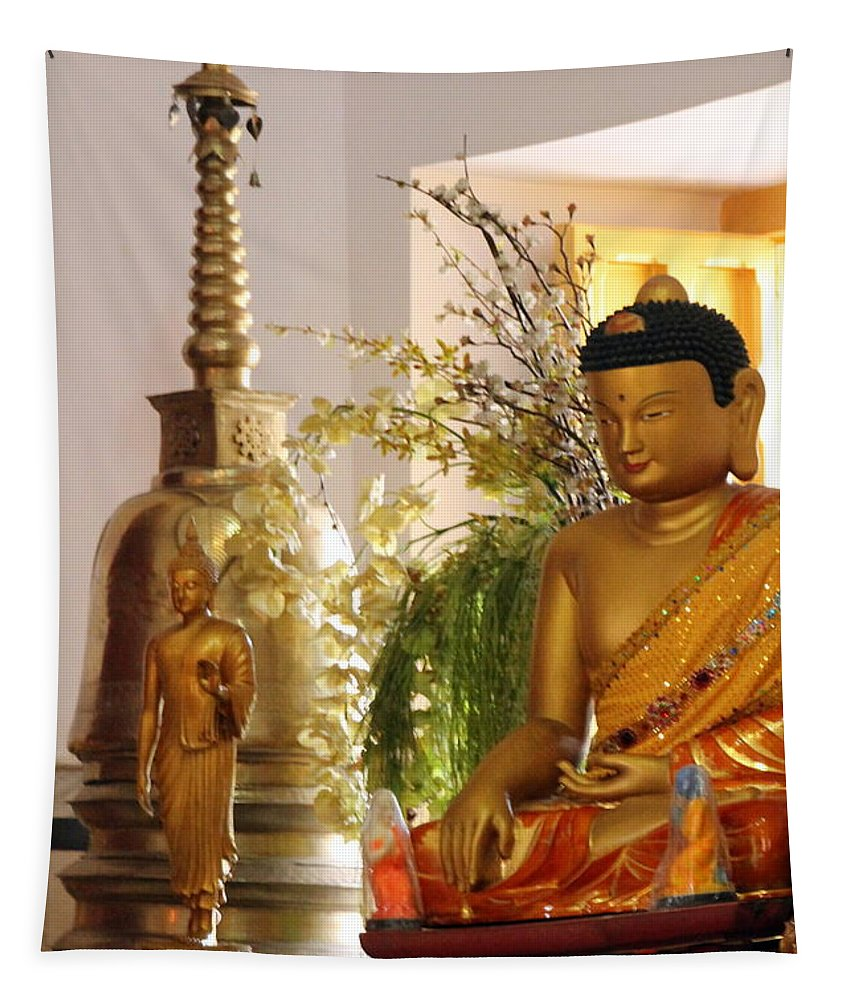 Buddha Tapestry featuring the photograph Buddha In India by Laurel Talabere