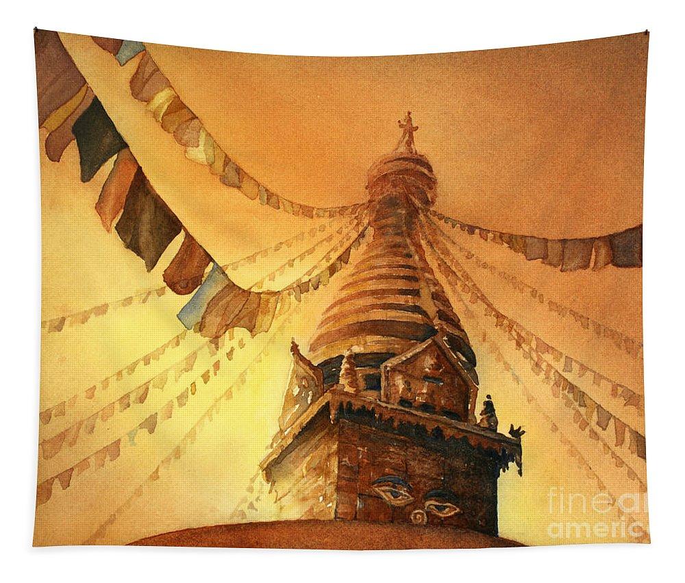Buddhist Stupa Tapestry featuring the painting Buddhist Stupa- Nepal by Ryan Fox