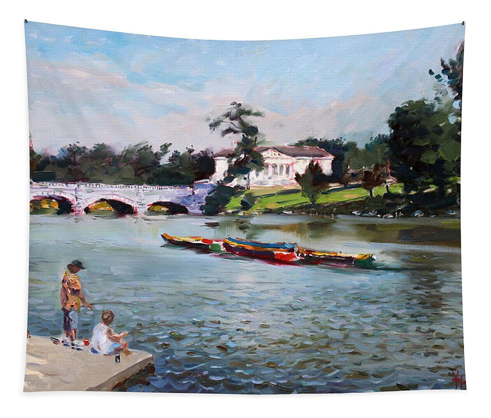 Landscape Tapestry featuring the painting Buffalo Fishing Day by Ylli Haruni
