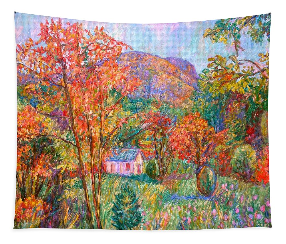 Landscape Tapestry featuring the painting Buffalo Mountain In Fall by Kendall Kessler