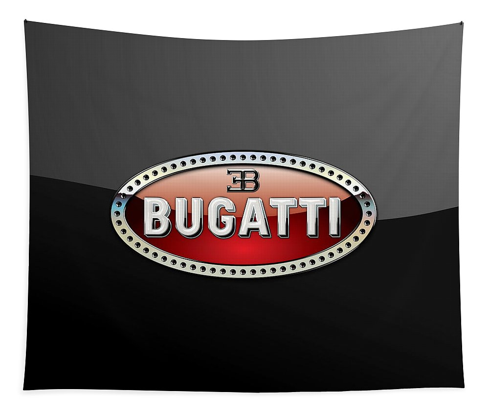 �wheels Of Fortune� Collection By Serge Averbukh Tapestry featuring the photograph Bugatti - 3 D Badge on Black by Serge Averbukh