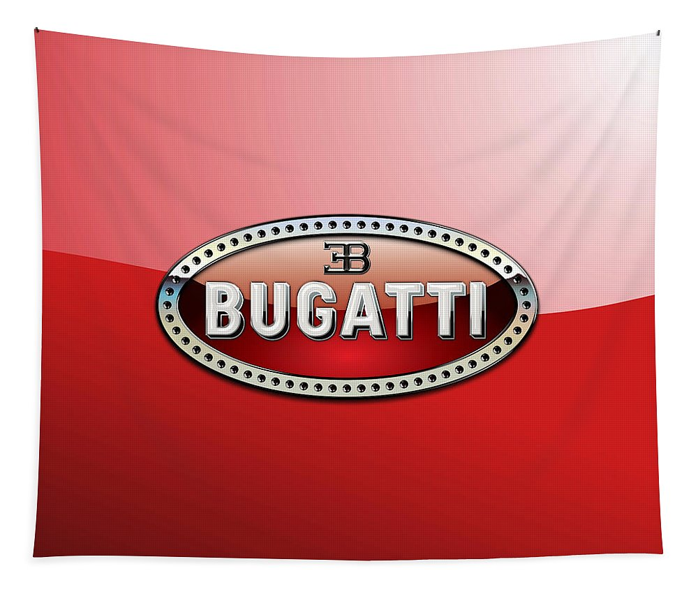 �wheels Of Fortune� Collection By Serge Averbukh Tapestry featuring the photograph Bugatti - 3 D Badge on Red by Serge Averbukh