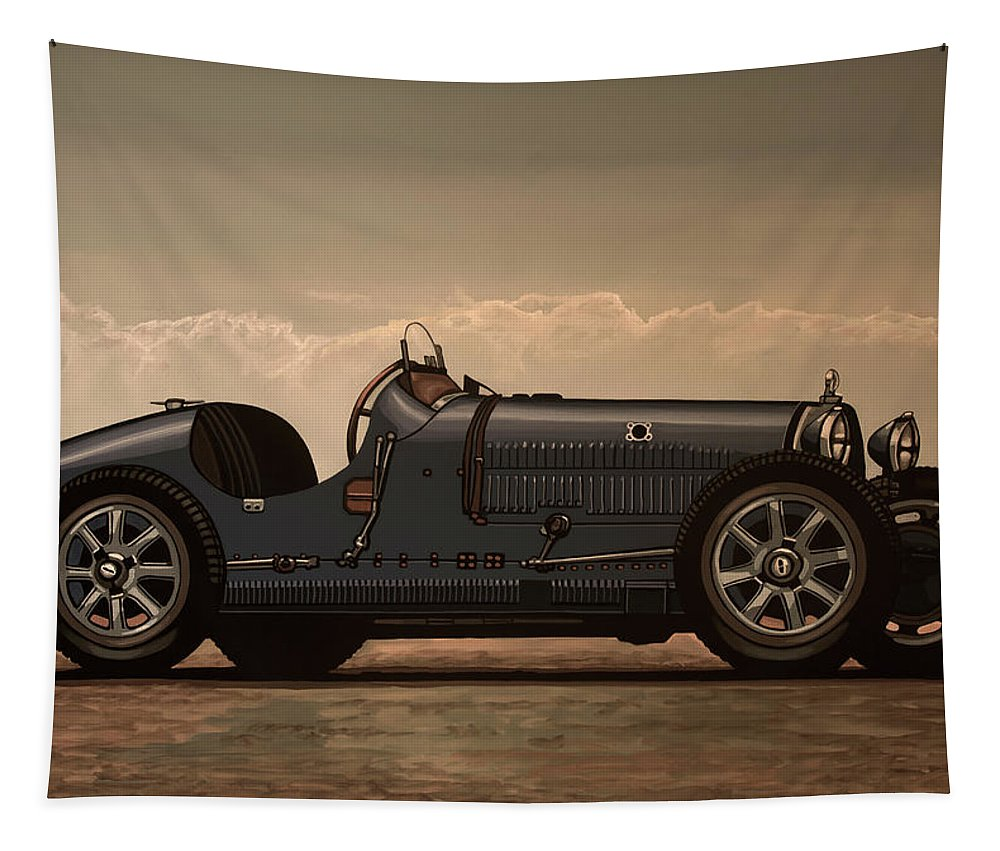 Bugatti Type 35 Tapestry featuring the mixed media Bugatti Type 35 1924 Mixed Media by Paul Meijering