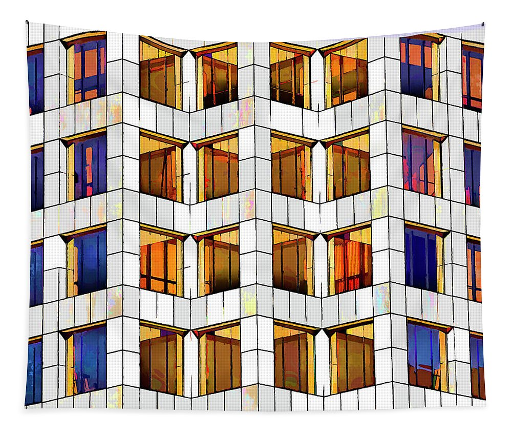 Linda Brody Tapestry featuring the digital art Building Abstract IIid by Linda Brody