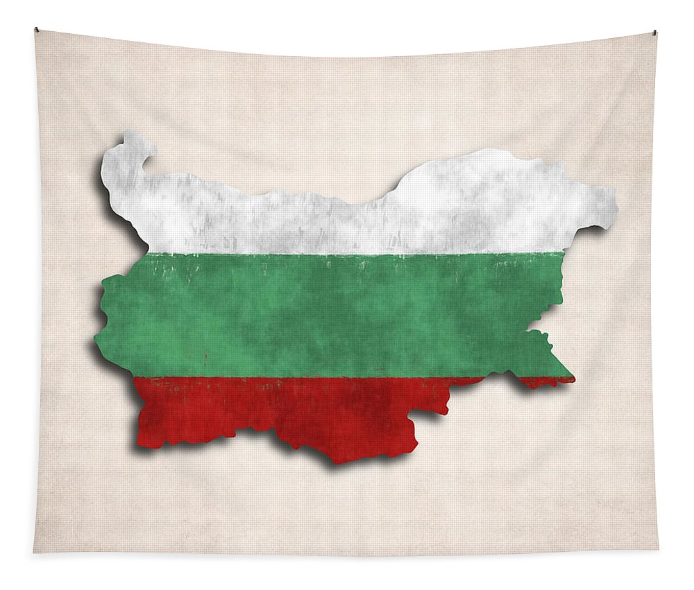 Bulgaria Tapestry featuring the digital art Bulgaria Map Art With Flag Design by World Art Prints And Designs