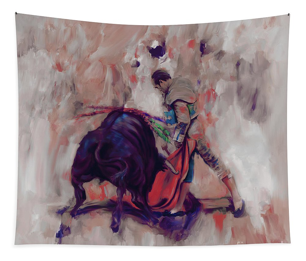 Toreador Tapestry featuring the painting Bull Fight 009k by Gull G