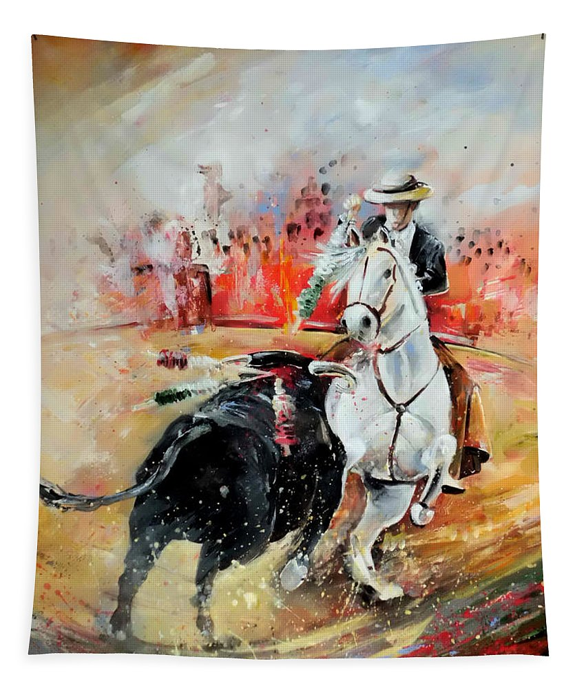 Toros Tapestry featuring the painting Bullfight 3 by Miki De Goodaboom