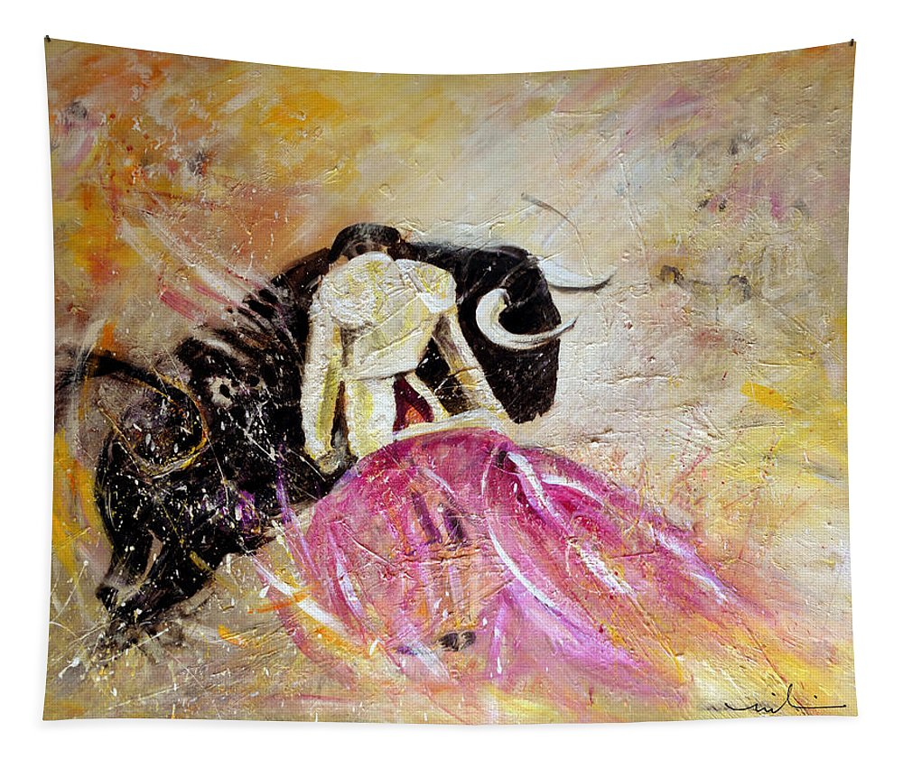 Animals Tapestry featuring the painting Bullfight 74 by Miki De Goodaboom