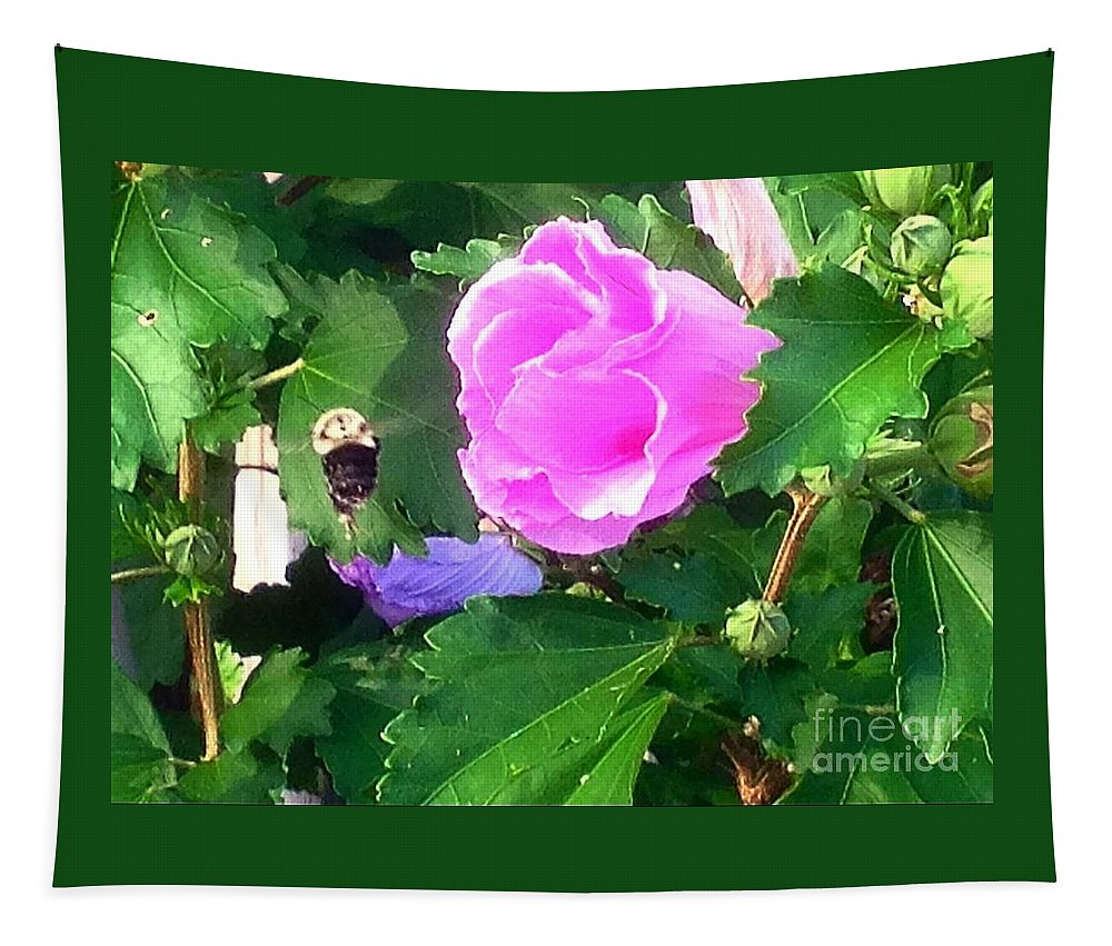 Floral Tapestry featuring the photograph Bumble Bee Flying Away by Debra Lynch
