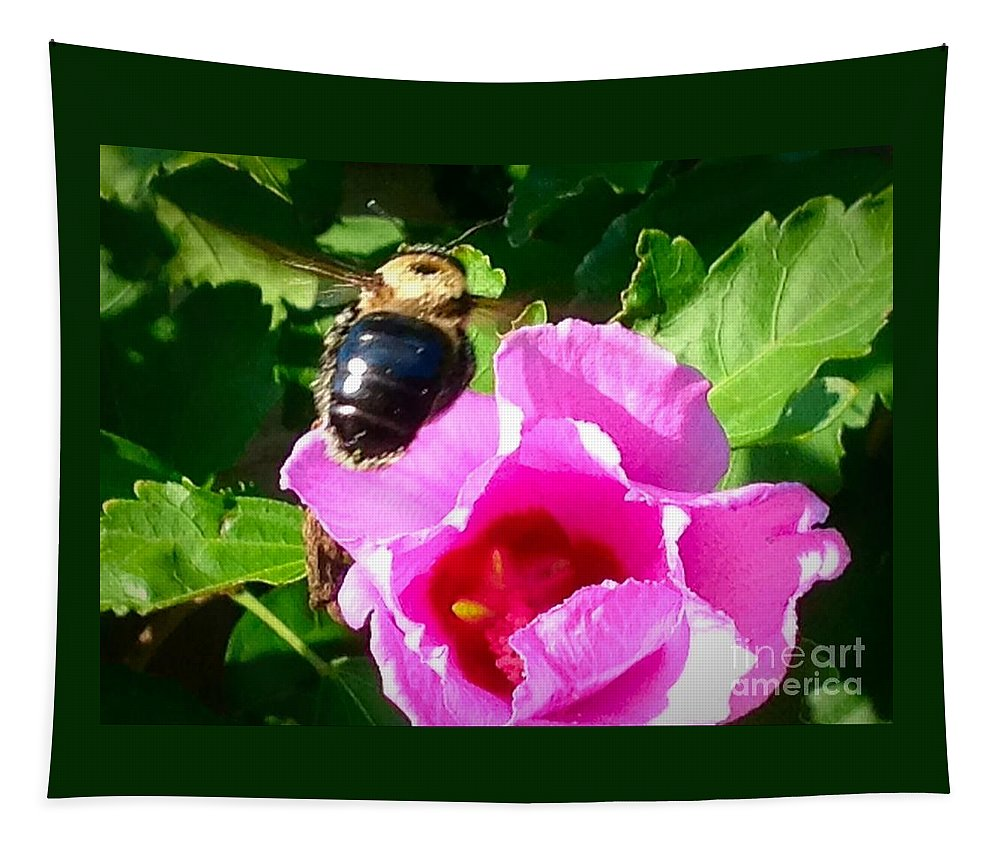Flower Tapestry featuring the photograph Bumble Bee Flying To Flower by Debra Lynch