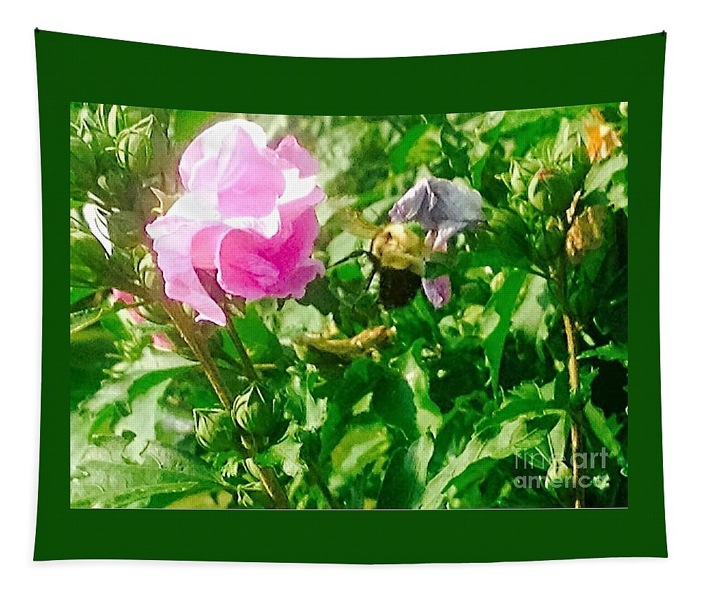 Photography Tapestry featuring the photograph Bumble Bee In Mid Flight by Debra Lynch
